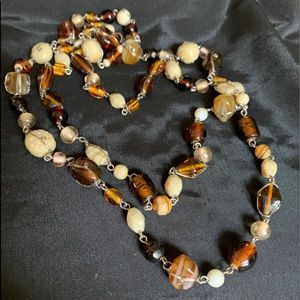 Vintage Long glass Beaded Wire Necklace Fall Tones